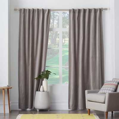 "Velvet Pole Pocket Curtain- 96""l x 48w-  Unlined - West Elm"