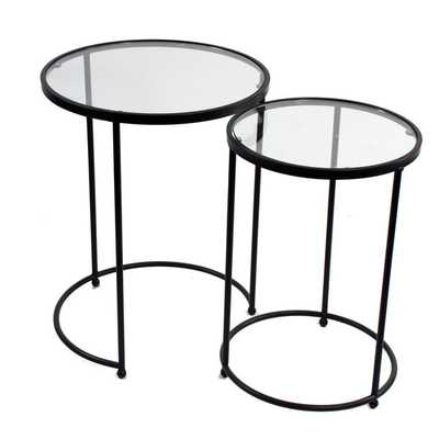 Brown Metal Glass Top Round Accent Tables (Set of 2) - Overstock