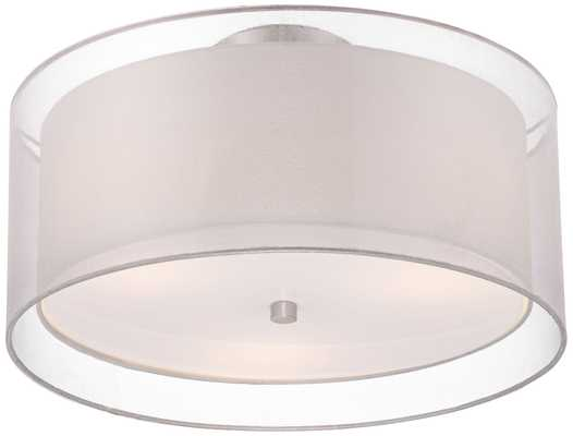 "Possini Euro Design Double Drum 18"" Wide White Ceiling Light - Lamps Plus"