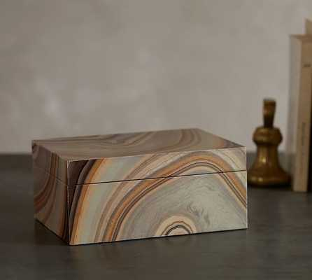 Natural Marbled Decoupage Box - Pottery Barn