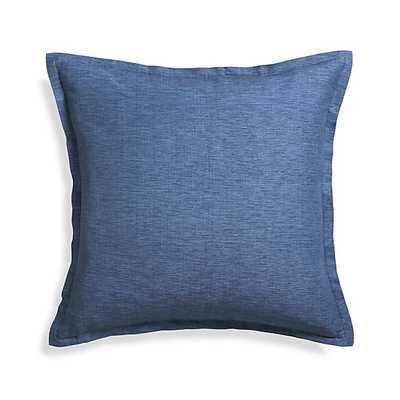 "Linden Indigo Blue 23"" Pillow - Down-alternative insert - Crate and Barrel"