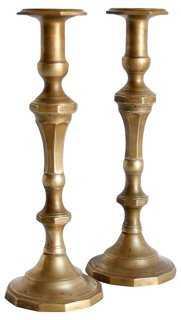 Large Brass Candleholders, Pair - One Kings Lane