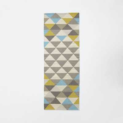 Sarah Campbell Mosaic Triangles Wool Dhurrie - Wave - 2.5'w x 7'l - West Elm