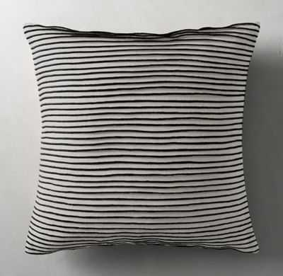 "PLEATED LINEN PILLOW COVER - SQUARE- 22"" sq.- Black- Insert sold separately - RH"