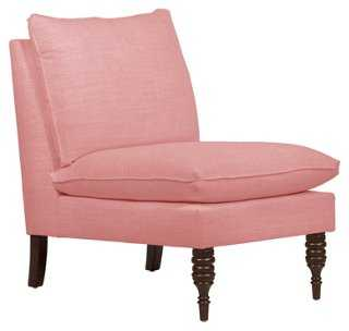 Bacall Slipper Chair, Pink Linen - One Kings Lane