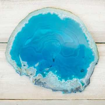 Agate Slice, Polished Natural Rock Slab, Large, 8.5-10 inch, Teal Blue - lightsforalloccasions.com