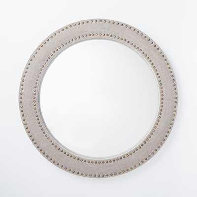 Upholstered Round Mirror - Doe Linen - West Elm