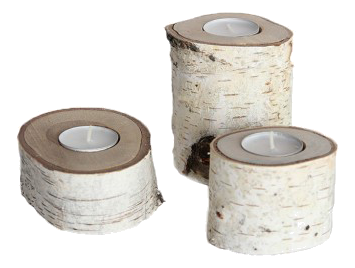 Birch Tea Light Candle Holders - Domino