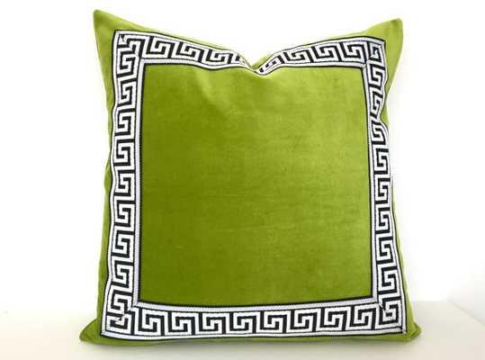 """Lime Green Velvet PIllow- 18""""x 18""""- Down/feather insert - Etsy"""