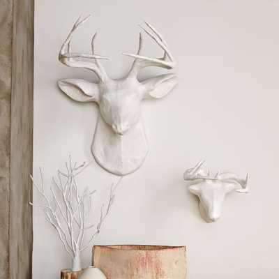 Papier-Mache Animal Sculptures - White Deer- Large - West Elm