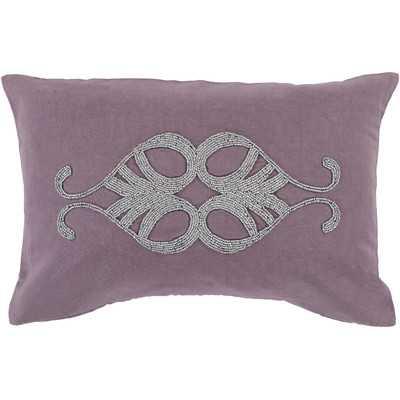 """Ashington Beaded Lumbar Pillow-Eggplant-13""""x20"""" - Wayfair"""