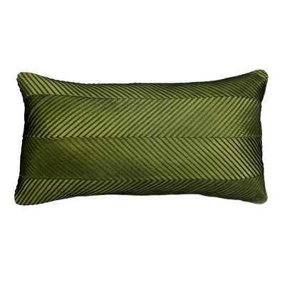 Chevron Cord Lumbar Pillow - Olive, 14x26, Down/Feather fill insert - Wayfair