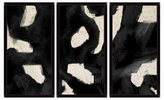 "Contemporary Black Swirls Triptych 22.75"" x 42.25"" framed - One Kings Lane"