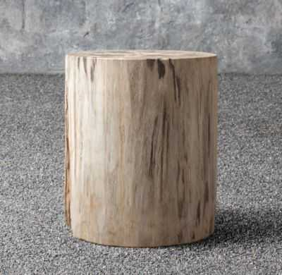 PETRIFIED WOOD OUTDOOR ROUND SIDE TABLE - RH