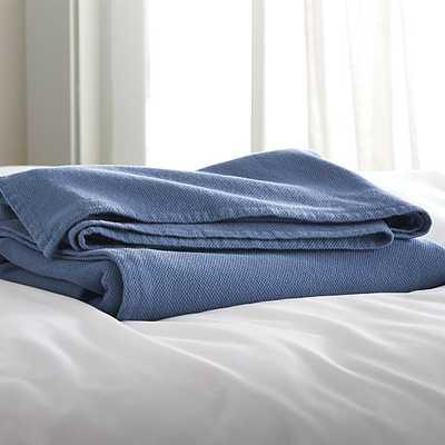 Siesta Blue Blanket - Crate and Barrel