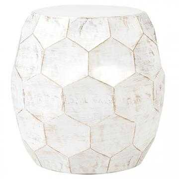 HONEYCOMB ACCENT TABLE - Distressed White - Home Depot