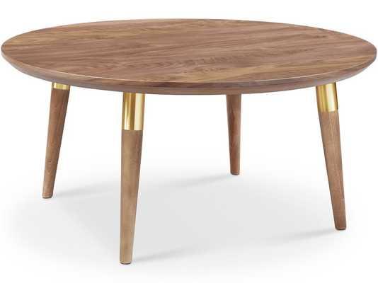 Victory Round Coffee Table, Walnut/Gold - Houzz