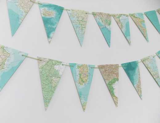 Garland of Map bunting - Etsy