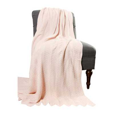 Kittery Knitted Cotton Throw Blanket - Petal - AllModern