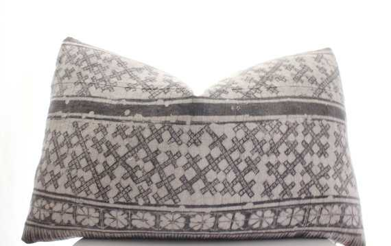 Hmong Gray Batik Pillow Cover Only - Etsy