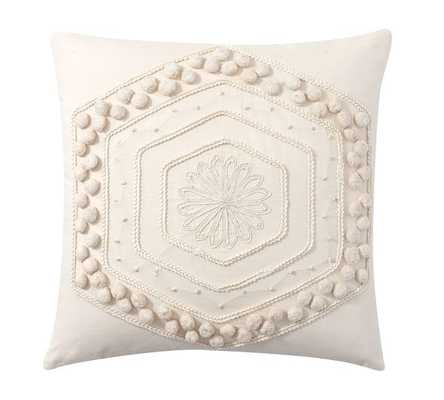 "POM POM EMBROIDERED PILLOW COVER - 20""Sq - White - Insert sold seperately - Pottery Barn"