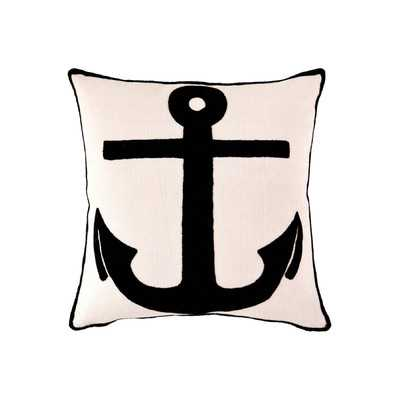 "Fresh American Admiral Throw Pillow- Ivory/Black-26""x26""-Insert - Wayfair"