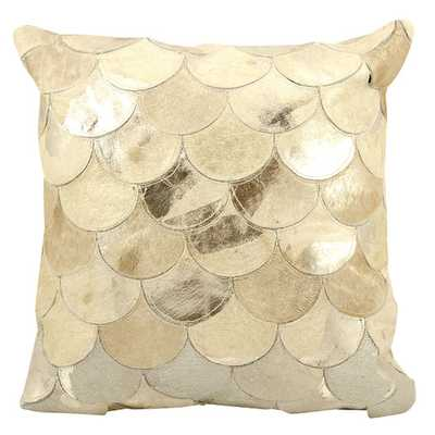 Natural Leather & Hide Throw Pillow - Gold, 20x20, With Insert - AllModern