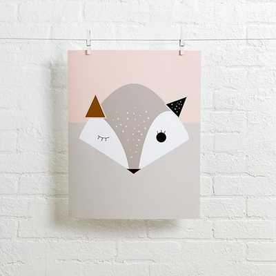 """Pink Fox Alphonnsine Wall Art - 16""""Wx20""""H - unframed - Land of Nod"""