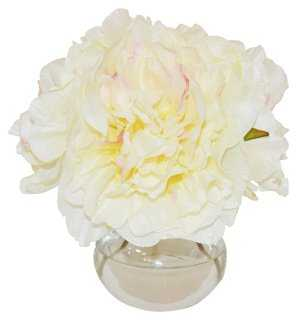 "8"" Peonies in Vase, Faux - One Kings Lane"
