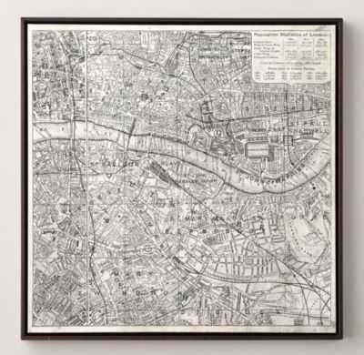 VINTAGE AERIAL MAPS OF EUROPEAN CITIES - LONDON - RH