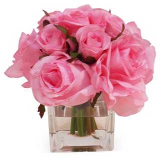 Rose Bundle in Cube Vase, Faux - One Kings Lane