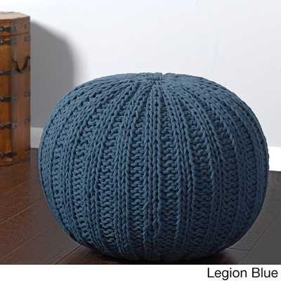 Sutton Hand-knitted Cable Cotton Pouf Ottoman - Overstock