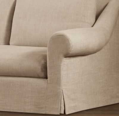 BELGIAN ROLL ARM SLIPCOVERS - Army Duck, Sand, 9' Classic - RH