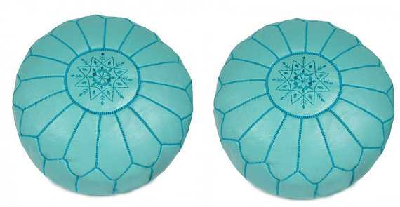 Set of 2 Moroccan Pouf -Duck Egg Blue - Etsy