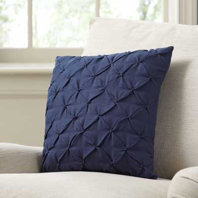 "Alda Pintucked Navy Pillow Cover - 18""sq. - Insert Sold Separately - Birch Lane"