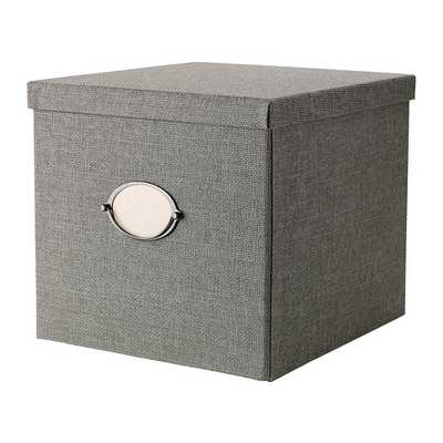 KVARNVIK Box with lid, gray - Ikea