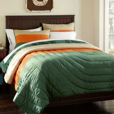 Burton Colorblock Quilt, Twin, Green/Orange - Pottery Barn Teen