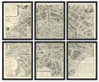 Map of Paris, Set of 6 - Framed - One Kings Lane