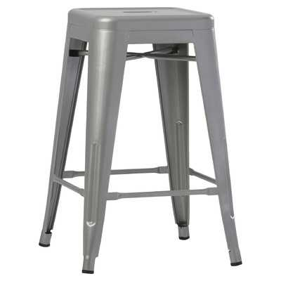 "Vanna 24"" Bar Stool - Silver - Set of 2 - Wayfair"