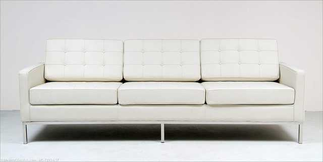 Florence Knoll: Sofa Replica - Snow White Leather - modernclassics