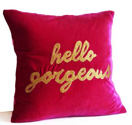"Hello Gorgeous Hot Pink Throw Pillow - 20""x20"" - Insert sold seperately - Etsy"