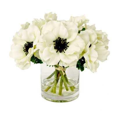 White Anemone Short Bouquet in Glass Vase - Wayfair