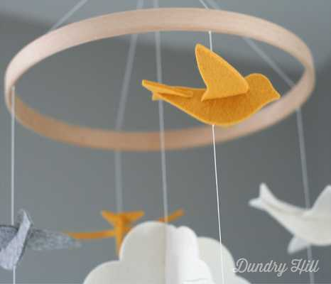 Heirloom Quality - Yellow, Gray and White Birds Baby Mobile - Etsy