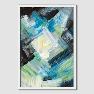 "Sarah Campbell - Geo Strokes - Abstract Light - 14"" x 20"" - Framed - West Elm"