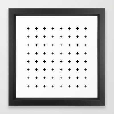 """Black Plus on White - 12""""x12""""- Framed - Society6"""