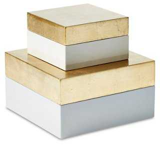 Asst. of Nested Boxes, Gold - Set of 2 - One Kings Lane
