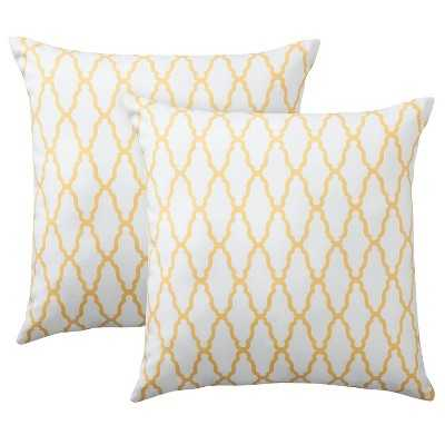"Thresholdâ""¢ 2-Pack Trellis Toss Pillows, yellow - 18""x18"" - Polyester fill - Target"