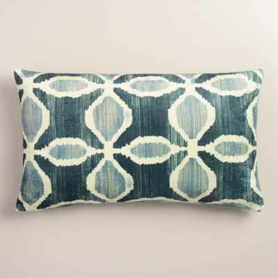 Oversized Blue Ikat Velvet Taza Lumbar Pillow - World Market/Cost Plus