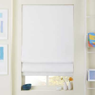 """Linen/Cotton Roman Shade + Blackout Liner - White-36""""w x 64""""l."""" - West Elm"""