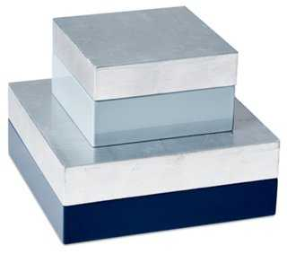 S/2 Nested Boxes, Blue/Silver - One Kings Lane